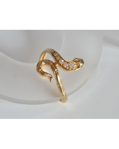 Bague serpent diamants or jaune 750