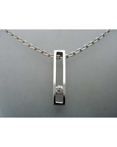 Collier Rectangle diamant or blanc 750