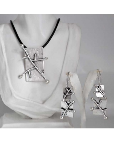 Ensemble collier et boucles d'oreilles rectangle fantaisie antiallergique